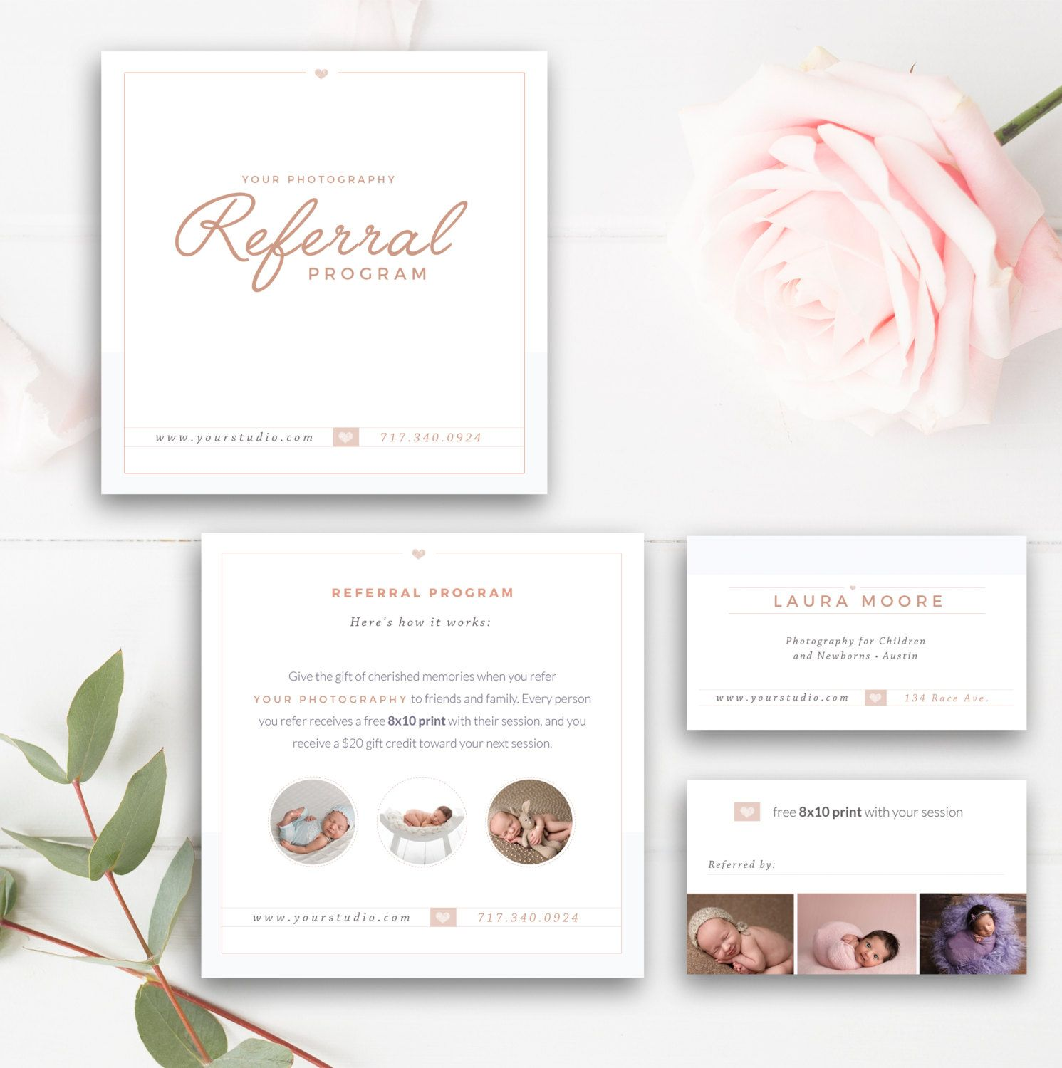 photography referral card photoshop template referral program