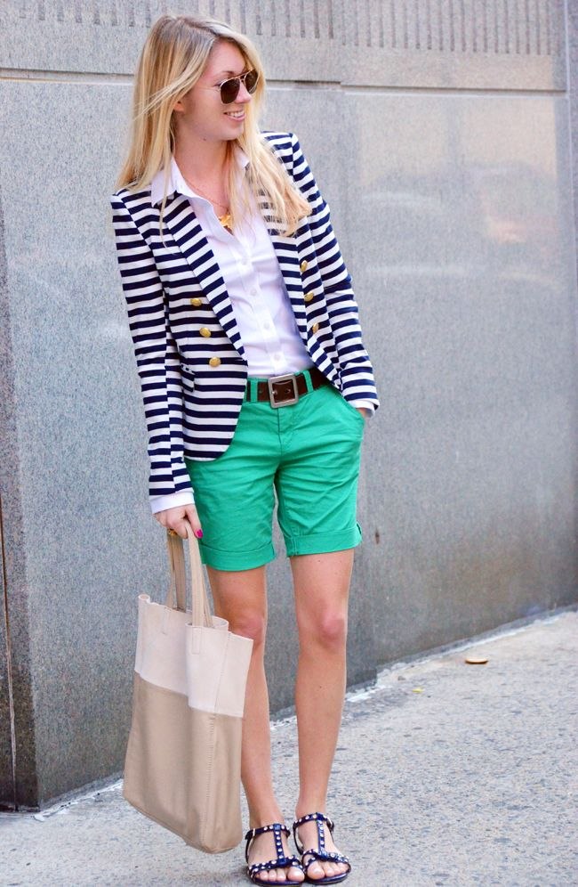striped blazer! (and green shorts too!)