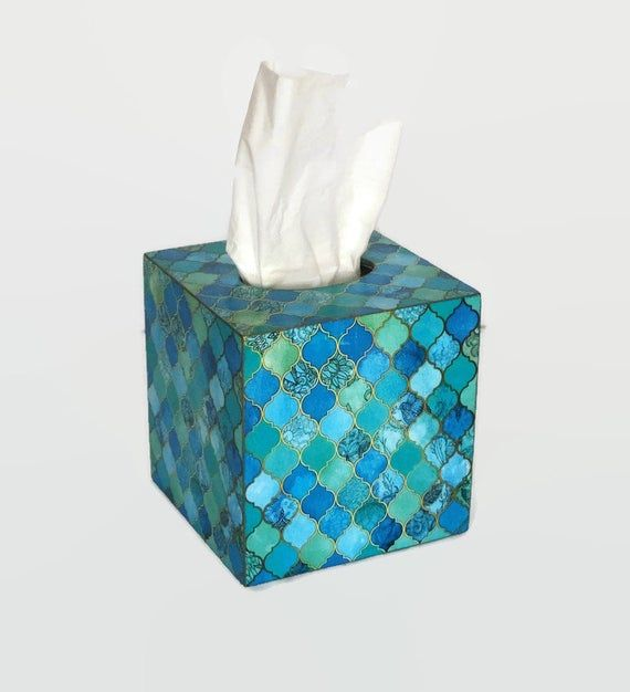 Blue bathroom decor Tissue box cover Moroccan Tile Moroccan seamless Turquoise Cobalt Blue Aqua&Gold Arabesque Moroccan style Bath accesoryMADE ON ORDER - takes up to 3-5 days to be madeEach item is unique.Please note that no two boxs are identical and there will be minor differences between the box you see in the pictures and the one you will receive.This decorative box for napkins is made of wood and decorated in decoupage techniq. The box is painted with acrylic paints and varnished. It w