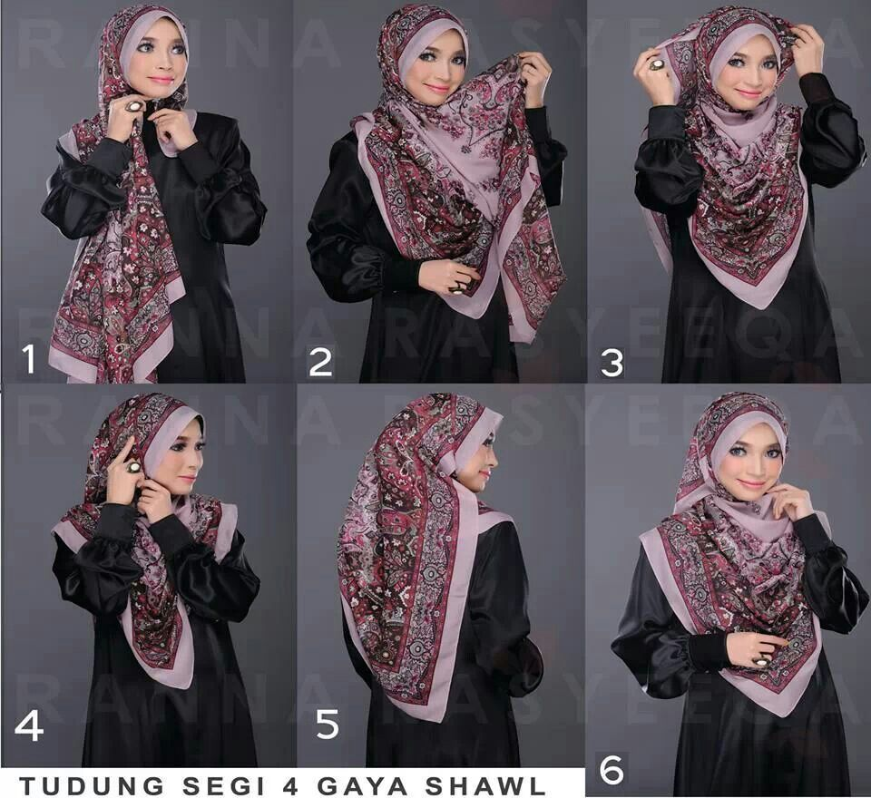 Tutorial Tudung Segi 4 Gaya Shawl Hijabi Pinterest Shawl And