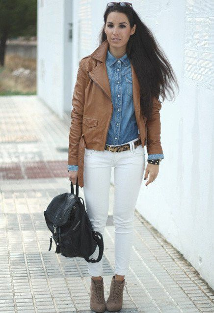 14 Ways To Wear Brown Leather Jacket - Fashion Diva Design ...
