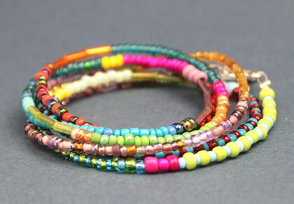 Armband Wickelarmband Kette Perlen Glasperlen Rocailles Kunterbunt