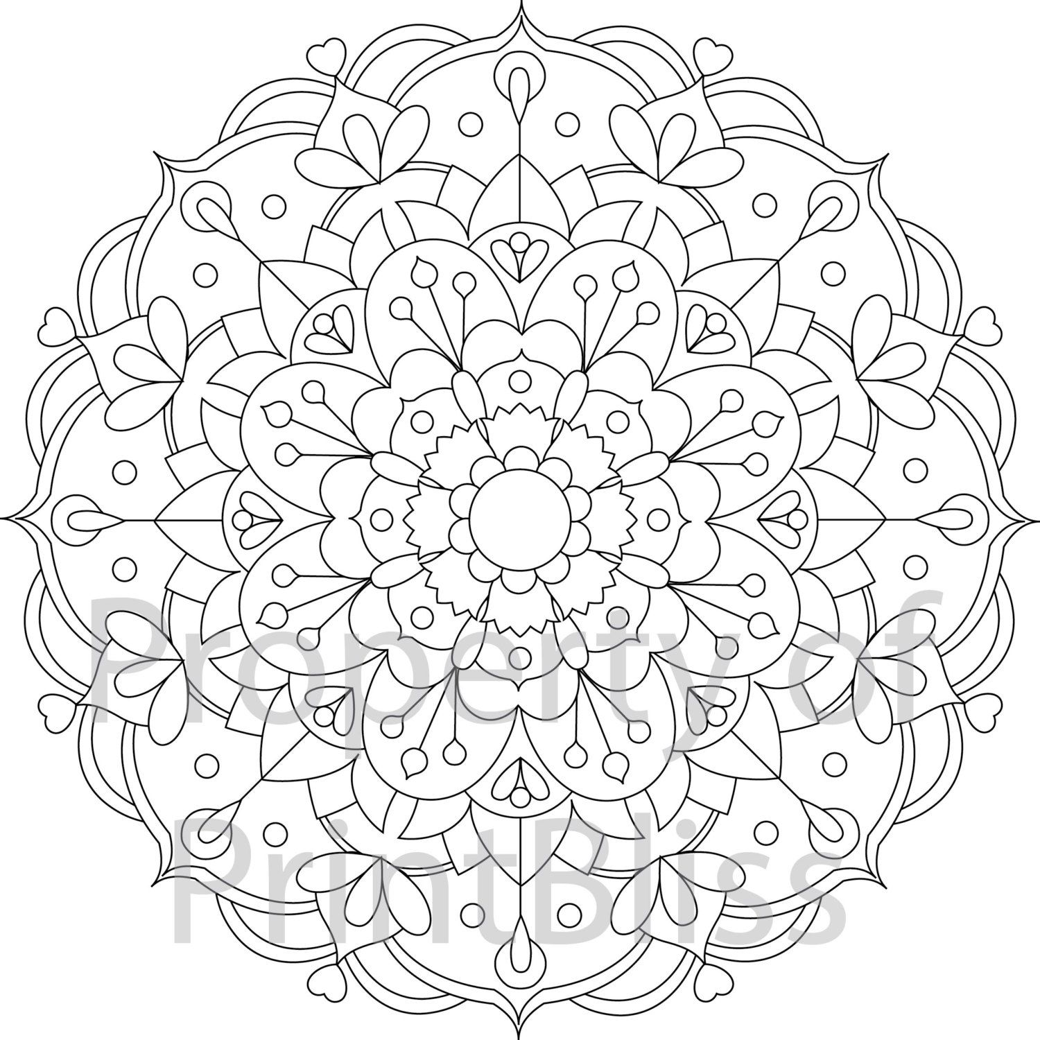 23 flower mandala printable coloring page by printbliss on etsy art my work mandala. Black Bedroom Furniture Sets. Home Design Ideas