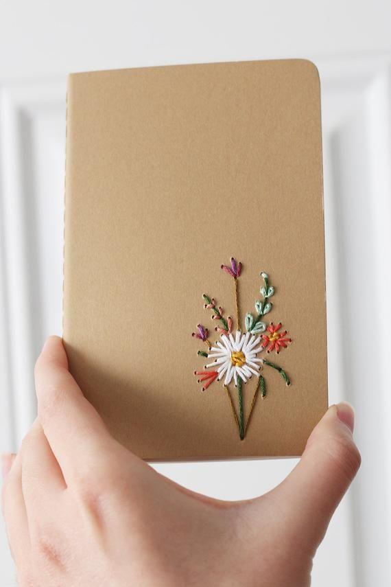 White Dahlia- hand embroidered moleskine pocket no