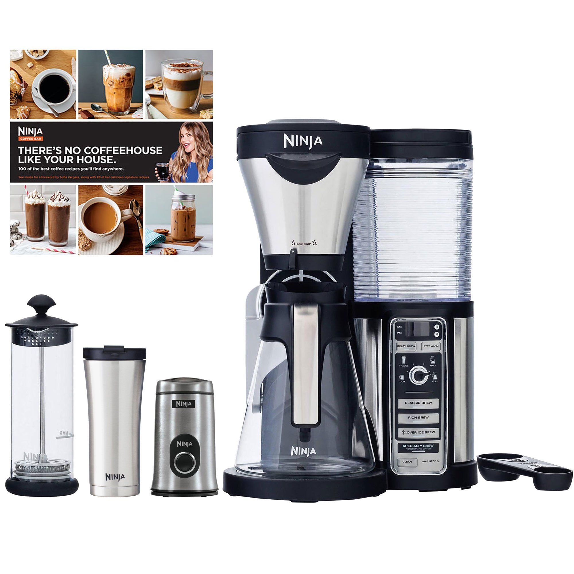 Ninja Coffee Bar Carafe Frother Travel Mug and Grinder
