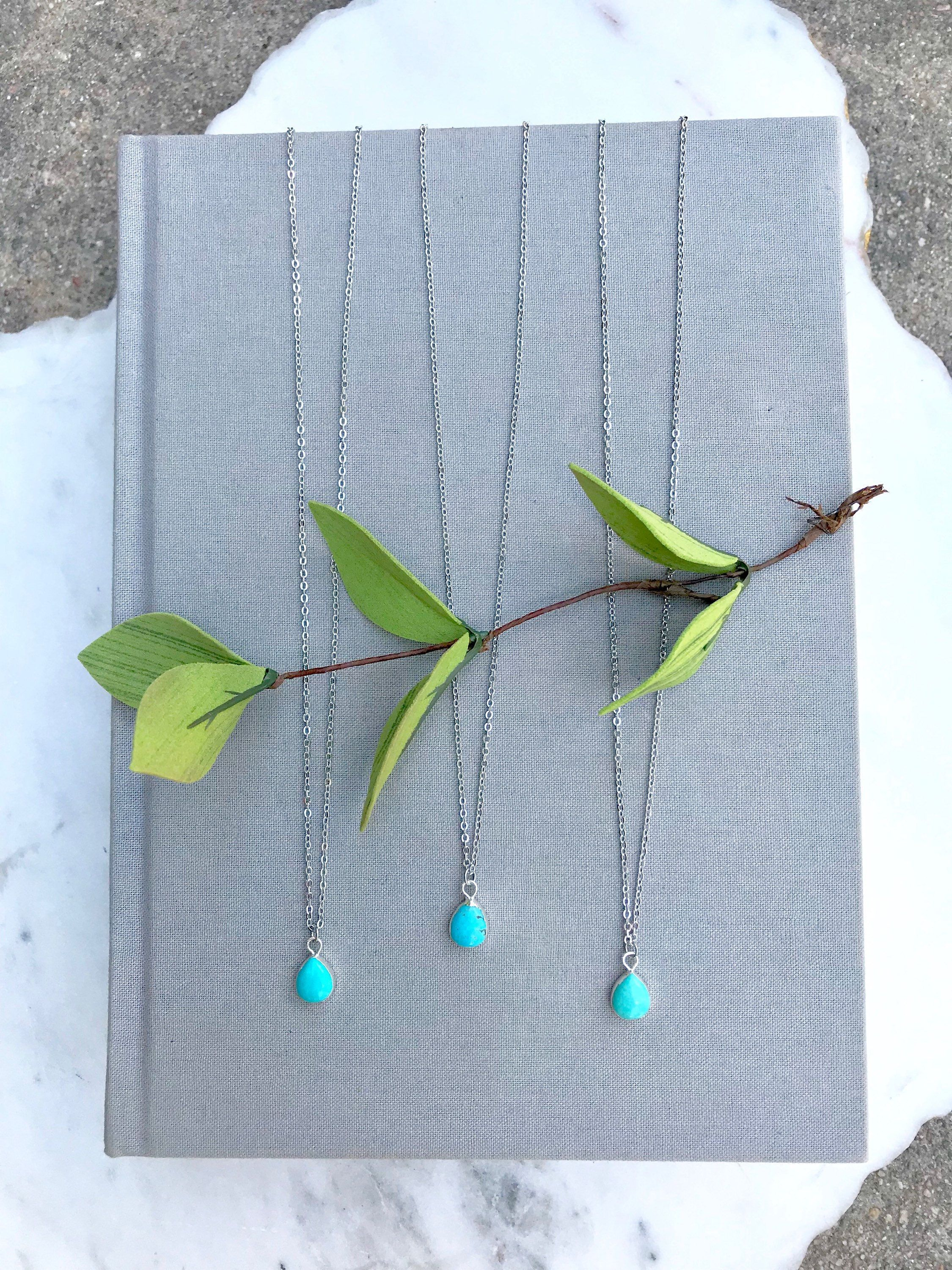 Turquoise Necklace Sterling Silver Small Teardrop Turquoise Silver Necklace 14k Silver Plate Boho Tiny Raw Turquoise Pendant Bridesmaid Gift