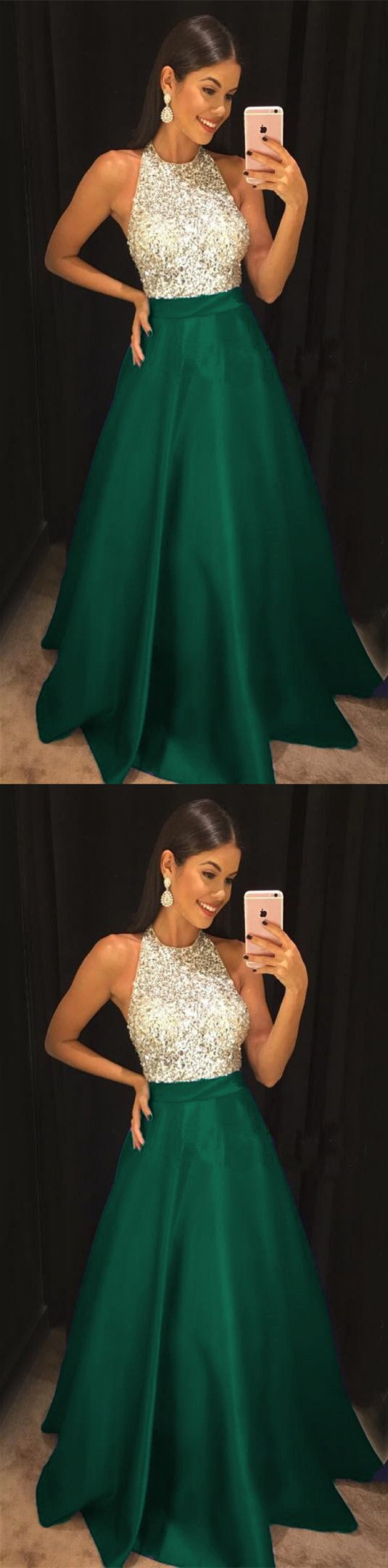 Emerald green prom dress 2018  Sparkly Sequins Beaded Halter Long Satin Prom Dresses   Prom