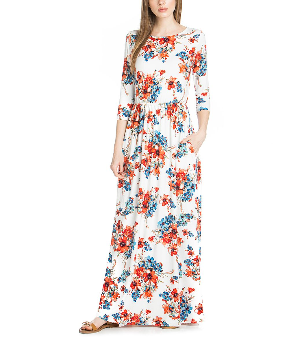 Ivory & Blue Floral Maxi Dress