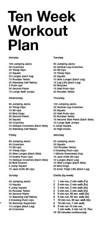 Ten Week Workout Plan Weekly Workout Plans 10 Week Workout Plan 10 Week Workout