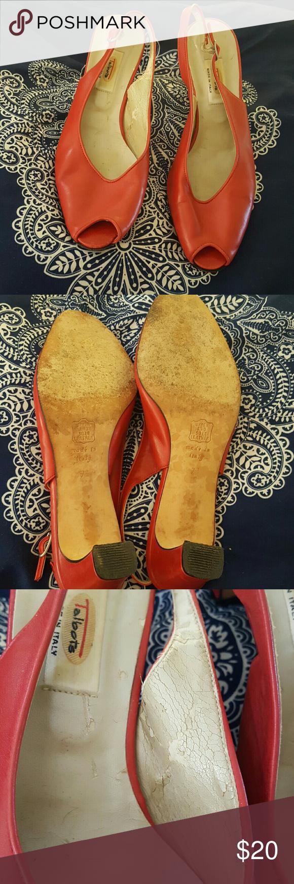 Talbot Red Peep Toe Heels Red Peep Toe Heels with peeling on inside Talbots Shoes Heels