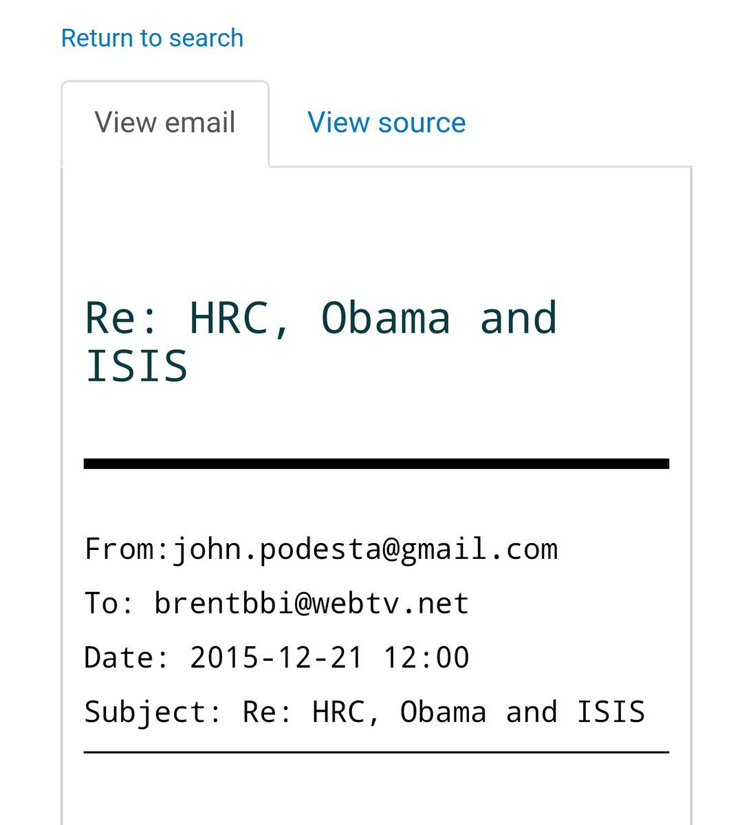 "Deplorable Me🇺🇸⚡🏈 on Twitter: ""Are we where we need to be fighting ISIS? Hell no! Yet HRC wants us all to believe we are. Liars, all of them! #PodestaEmails19 https://t.co/mbSAWzsiZ4"""