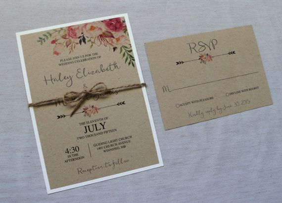 Kraft Hochzeit Einladung rustikale von LoveofCreating auf Etsy