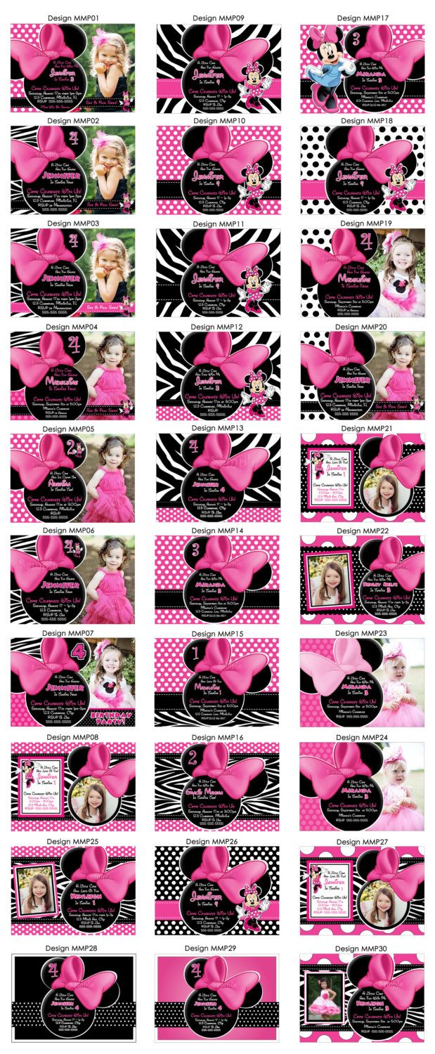 HUGE SELECTION Minnie Mouse Invitation - Pink Zebra Minnie Mouse ...