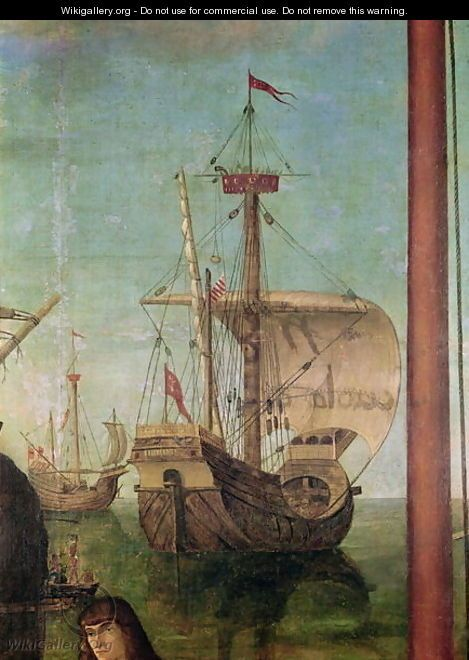 The Meeting and Departure of the Betrothed, from the St. Ursula Cycle, detail of a ship, 1490-96 - Vittore Carpaccio