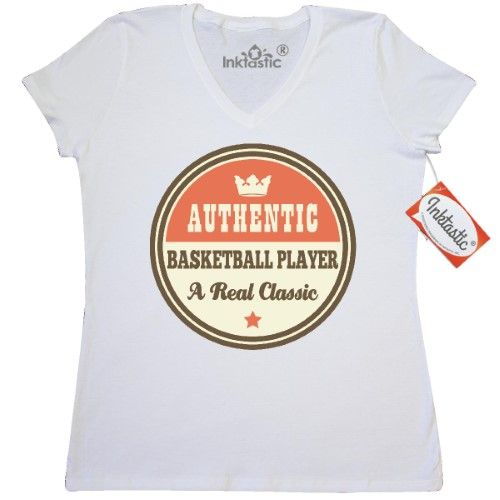 c84f5e633 Inktastic Basketball Player Vintage Classic Women's V-Neck T-Shirt Gift  Authentic Sports Team Coach Future Hobbies Clothing Apparel Tees Adult Hws,  ...