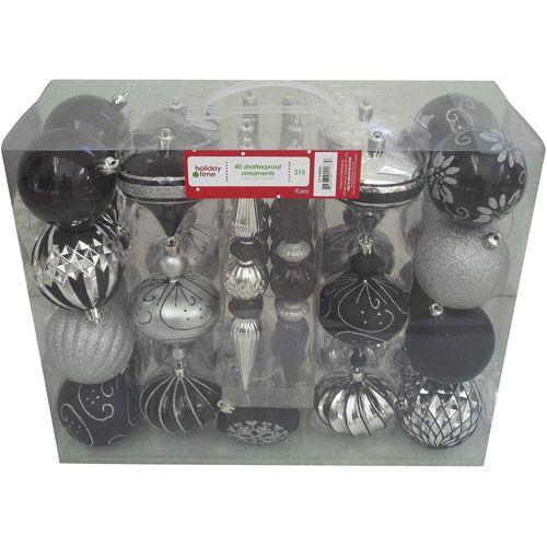 Holiday Time 40 Count Shatterproof Ornament Set Walmart Com Creepy Christmas Dark Christmas Christmas Ornament Sets
