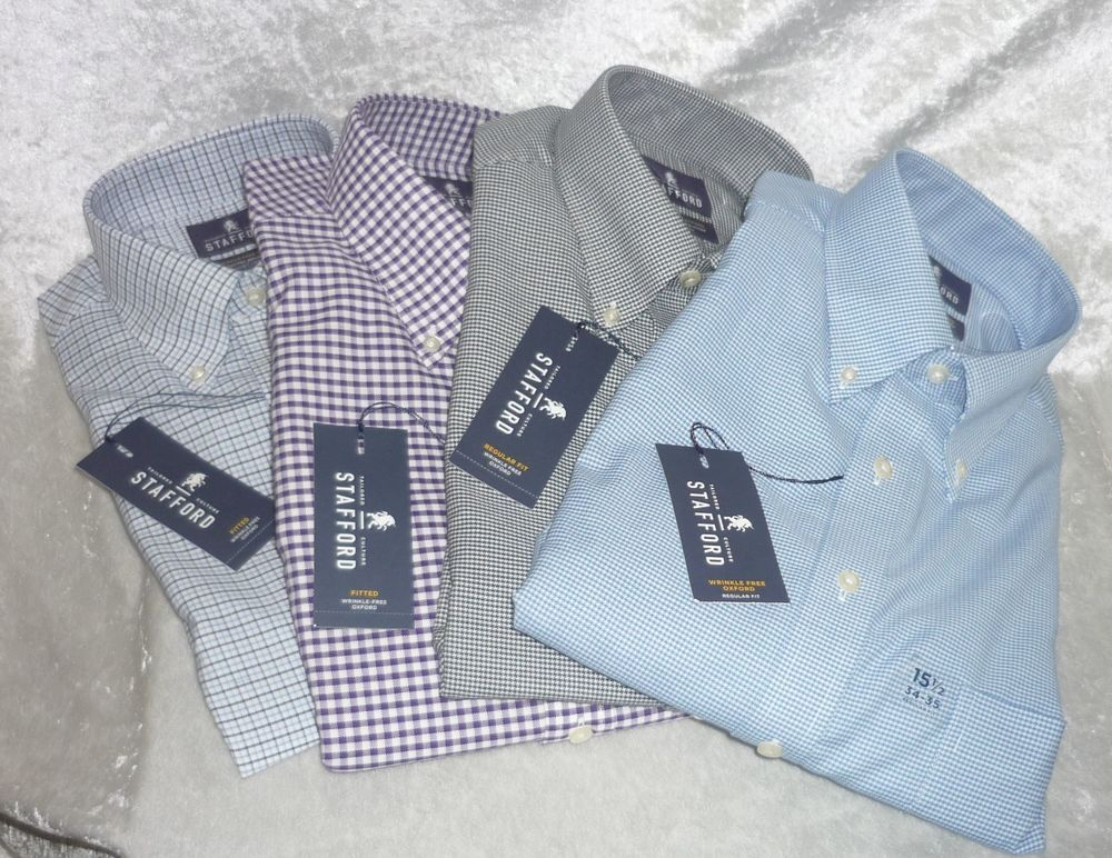 Stafford dress shirt wrinkle free oxford plaid men's size 14.5, 15, 15.5 NEW 19.99 FREE Expedited Shipping http://www.ebay.com/itm/Stafford-dress-shirt-wrinkle-free-oxford-plaid-men-039-s-size-14-5-15-15-5-NEW-/251708339437?