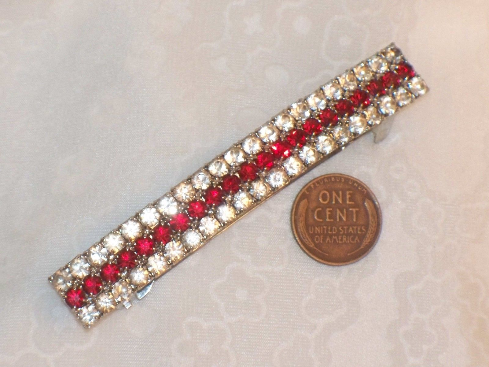 Vintage hair accessory holder - Vintage 1980s Large Red Rhinestone Barrette France Thick Hair Pony Tail Holder