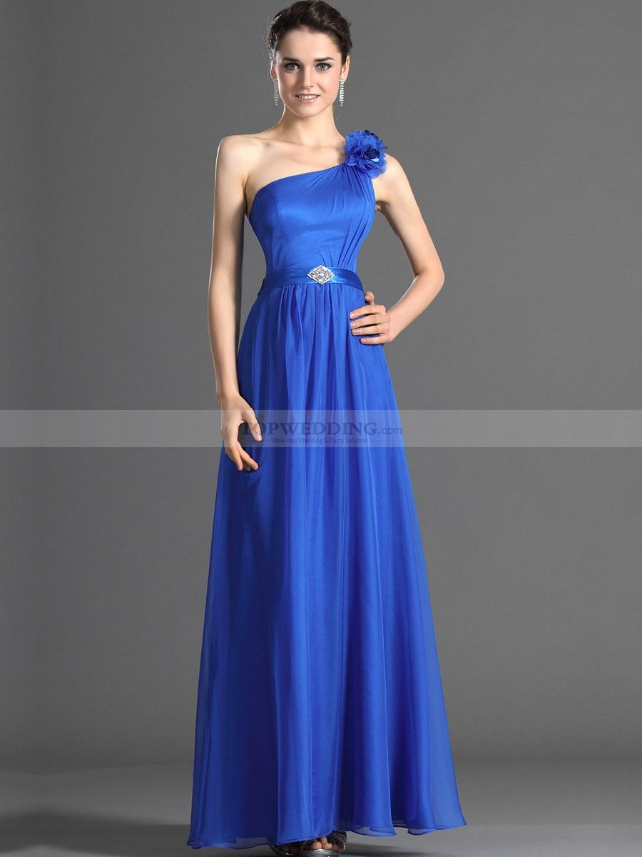 Goddess style floral one shoulder long chiffon bridesmaid dress with