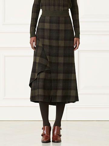 Maya Plaid Cashmere Skirt - Collection Apparel Midi - RalphLauren.com