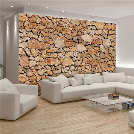 Papel de encolar para pared muro de piedras 368 x 254 cm - Papel para pared ...
