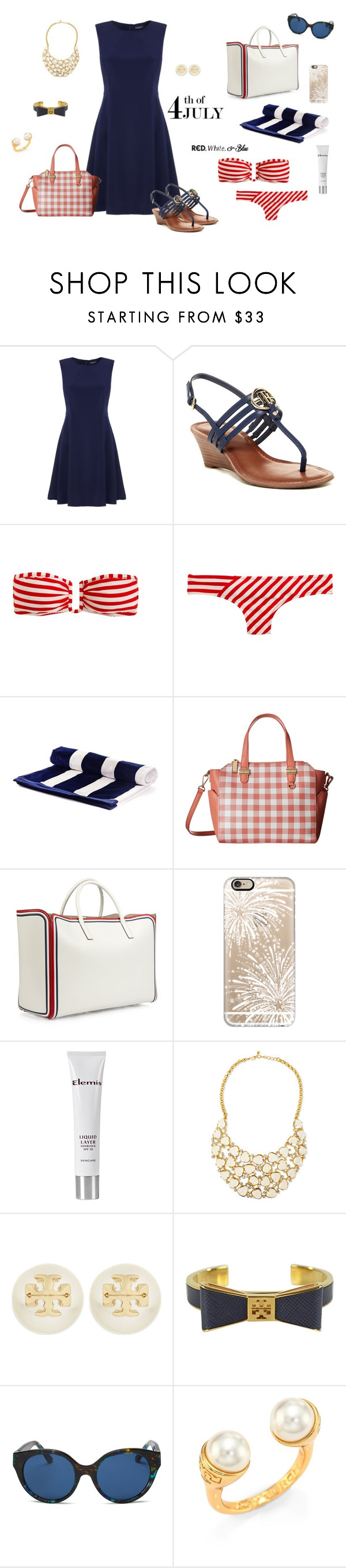 """""""Happy 4th of July!"""" by picassogirl ❤ liked on Polyvore featuring Tommy Hilfiger, J.Crew, Anya Hindmarch, Casetify, Elemis, Kenneth Jay Lane and Tory Burch"""