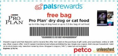 Petco Com Palsrewards Free Bag Dog Or Cat Food Printable