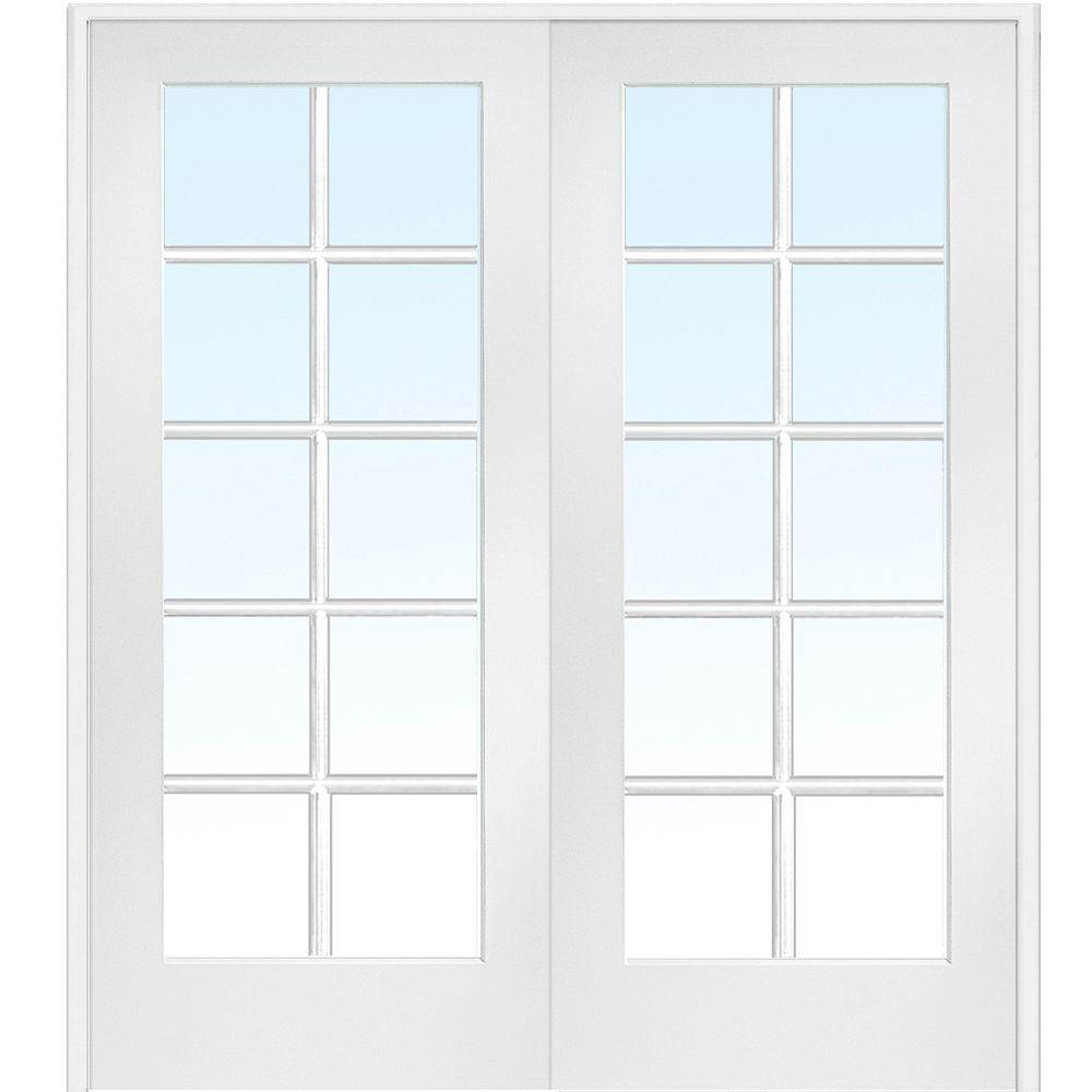 Mmi Door 60 In X 80 In Both Active Primed Mdf Glass 10 Lite Clear True Divided Prehung Interior French Door Z009320ba The Home Depot In 2020 Prehung Interior French Doors French