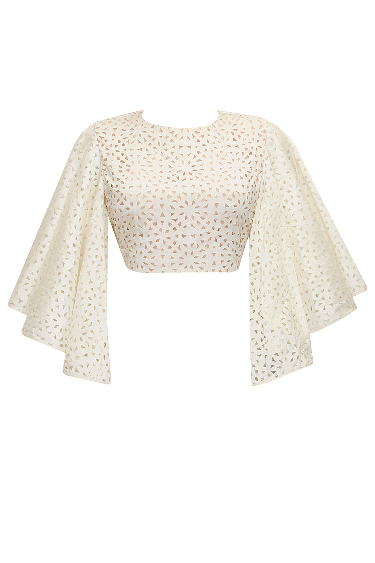 Off white cutwork bell sleeves crop top by SVA. Shop now: http://www.perniaspopupshop.com/designers/sva #sva #top #perniaspopupshop #shopnow