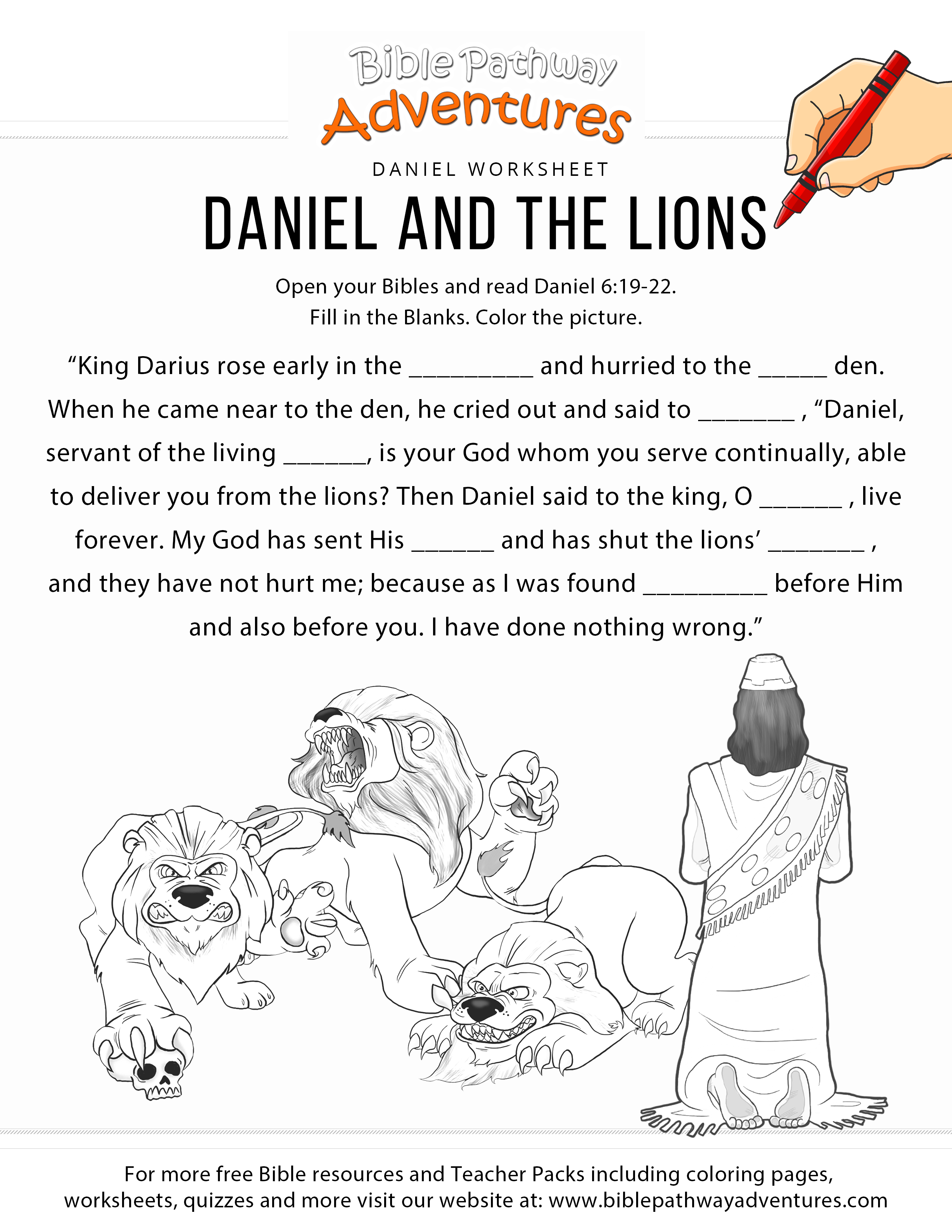 Daniel And The Lions Worksheet Amp Coloring Page