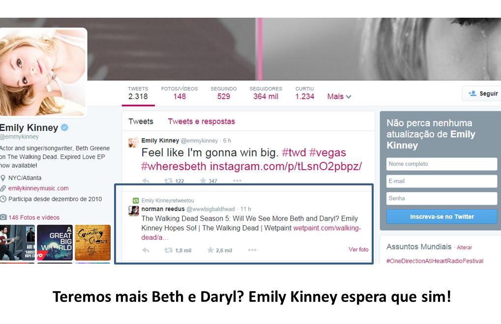 Emily retweetou o interesse de Norman pela entrevista. Ela já deseja um pouco mais de Bethyl! :)