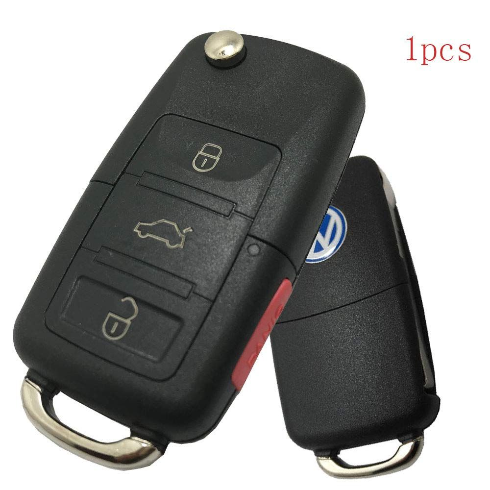 New 4 Buttons Replacement Flip Remote Entry Key Fob Case For Vw