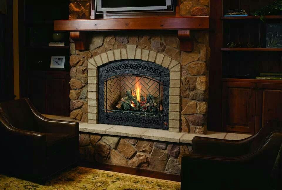 Fireplace Brick Fireplace Vented Gas Fireplace Rustic Fireplaces