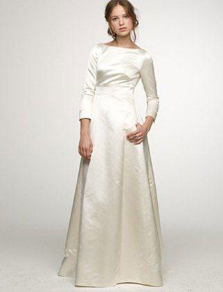 J Crew Duchess Satin Noelle Gown Long Sleeve Satin Wedding Dress Wedding Dress Long Sleeve Winter Wedding Gowns