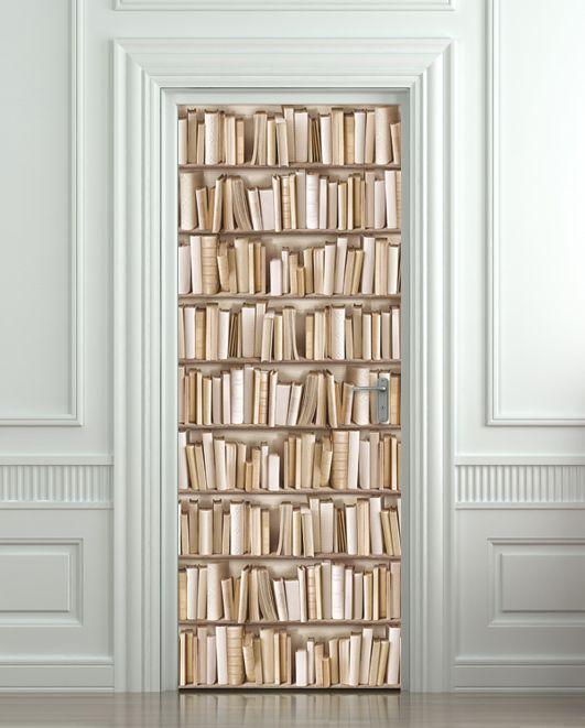 Door STICKER book library cabinet strapper box mural decole film self-adhesive