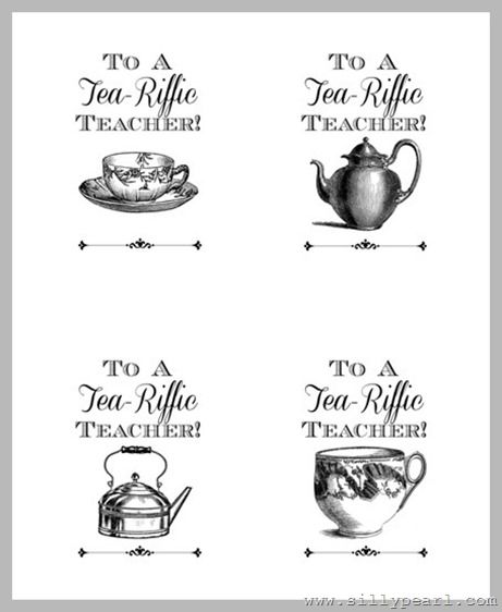 Teacher gift idea and printable to a tea riffic teacher free to a tea riffic teacher free printable gift tags the silly pearl negle Images