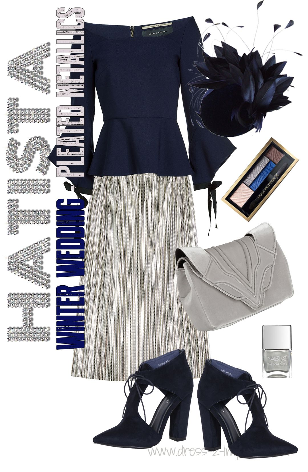 Winter Wedding Outfit Inspiration Pleated Metallic Skirt Navy And