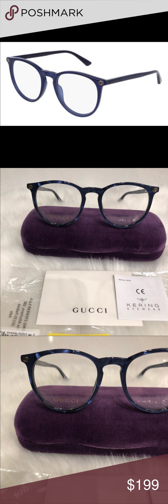 a3908819ec Gucci eyeglasses 100% NEW AND AUTHENTIC GUCCI EYEGLASSES BLUE FRAMES WITH  CLEAR DEMO LENSES.
