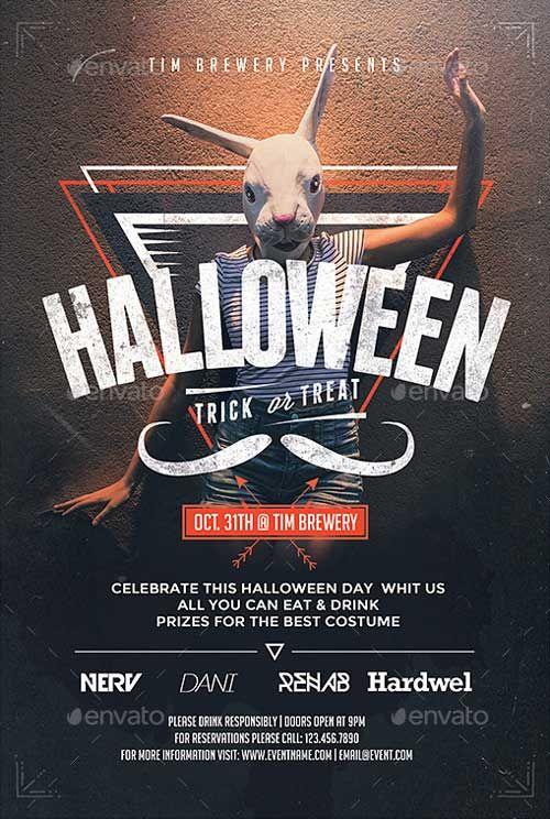 Hipster Halloween Flyer Template… | P O S T E R S | Pinterest ...
