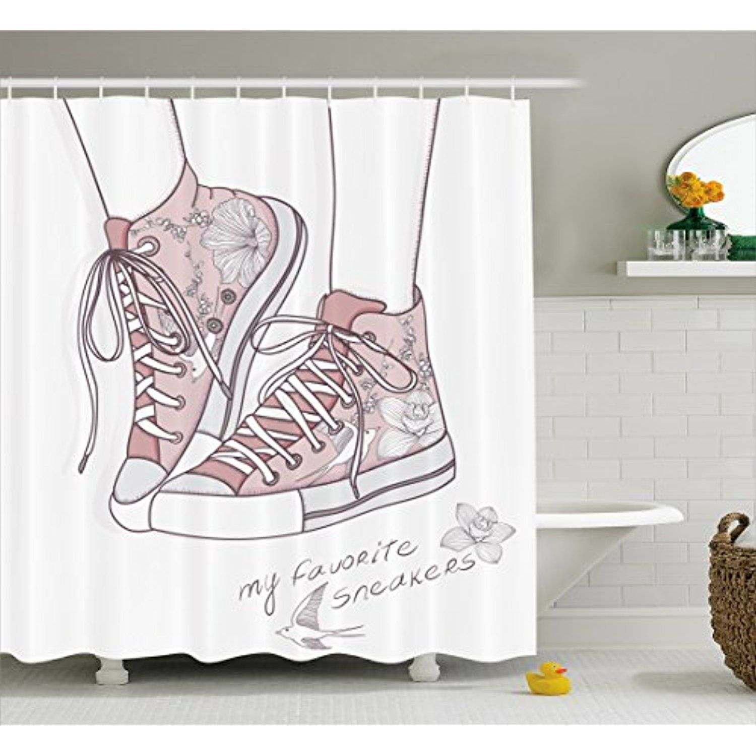 Cute Shower Curtain by Lunarable, Shoes with Floral Pattern