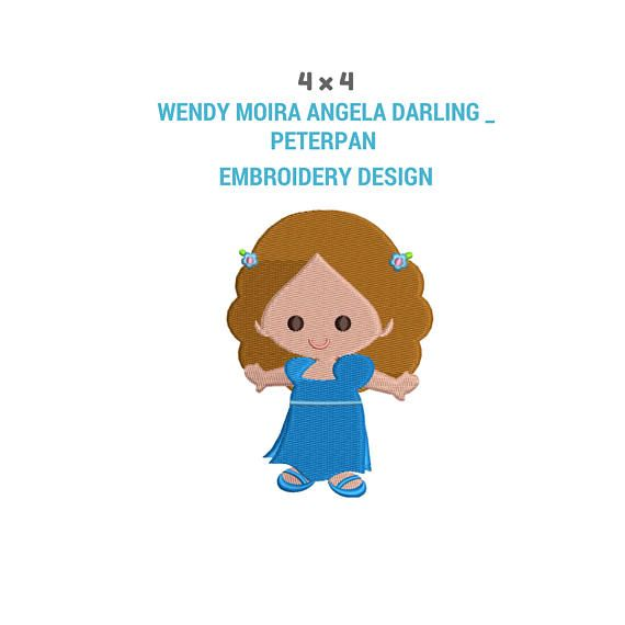 Wendy Moira Angela Darling Peter Pan Embroidery Design