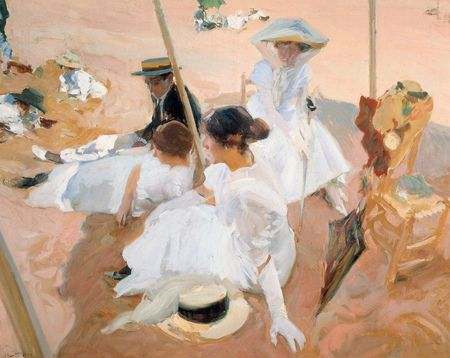 """Reproducción de arte pintada al óleo, Titulada """"Under de Awning"""", obra del siglo XX."""
