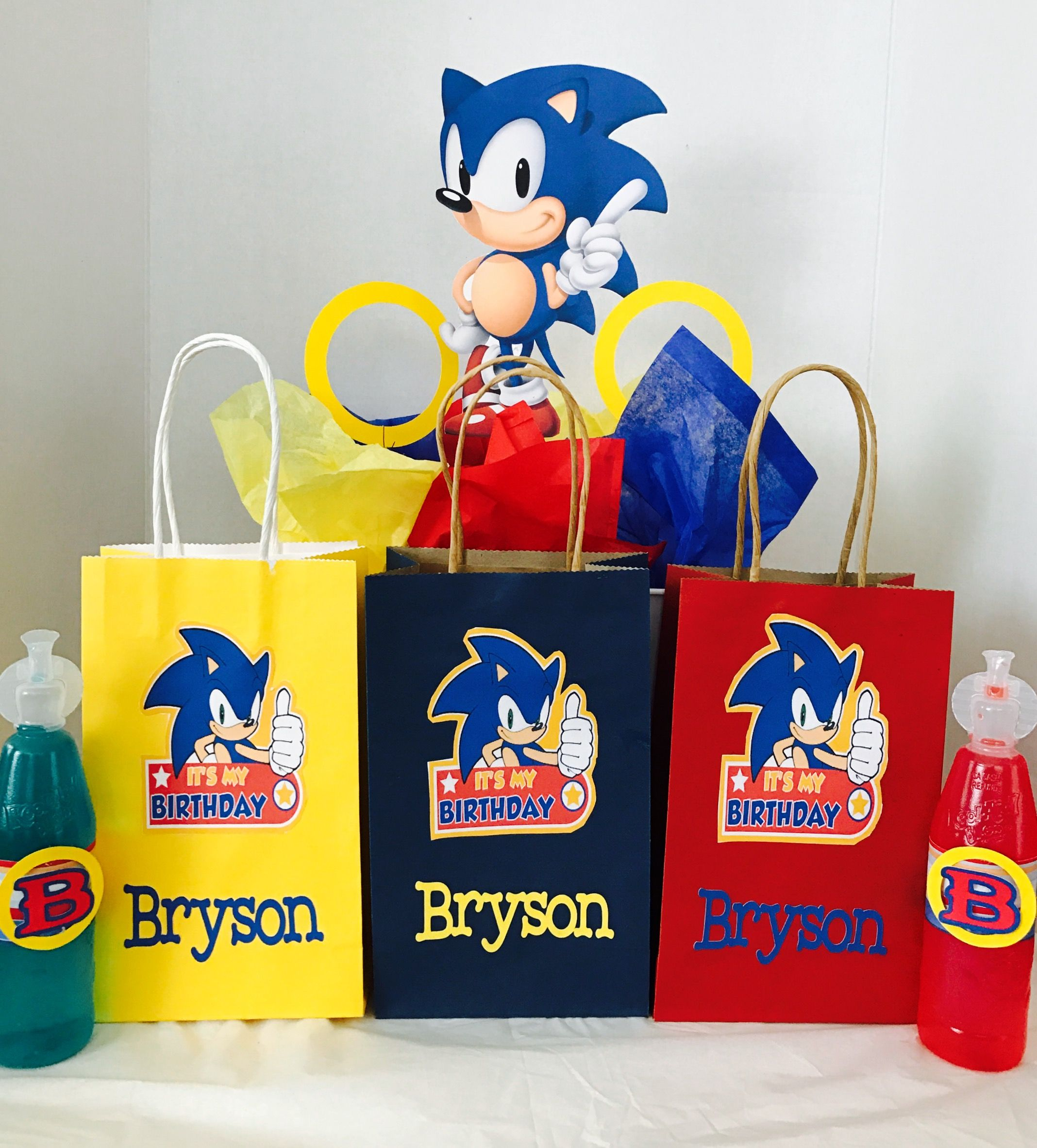 Sonic The Hedgehog Party Favor Bags I Decorated Sonic Birthday Parties Hedgehog Birthday Sonic Birthday