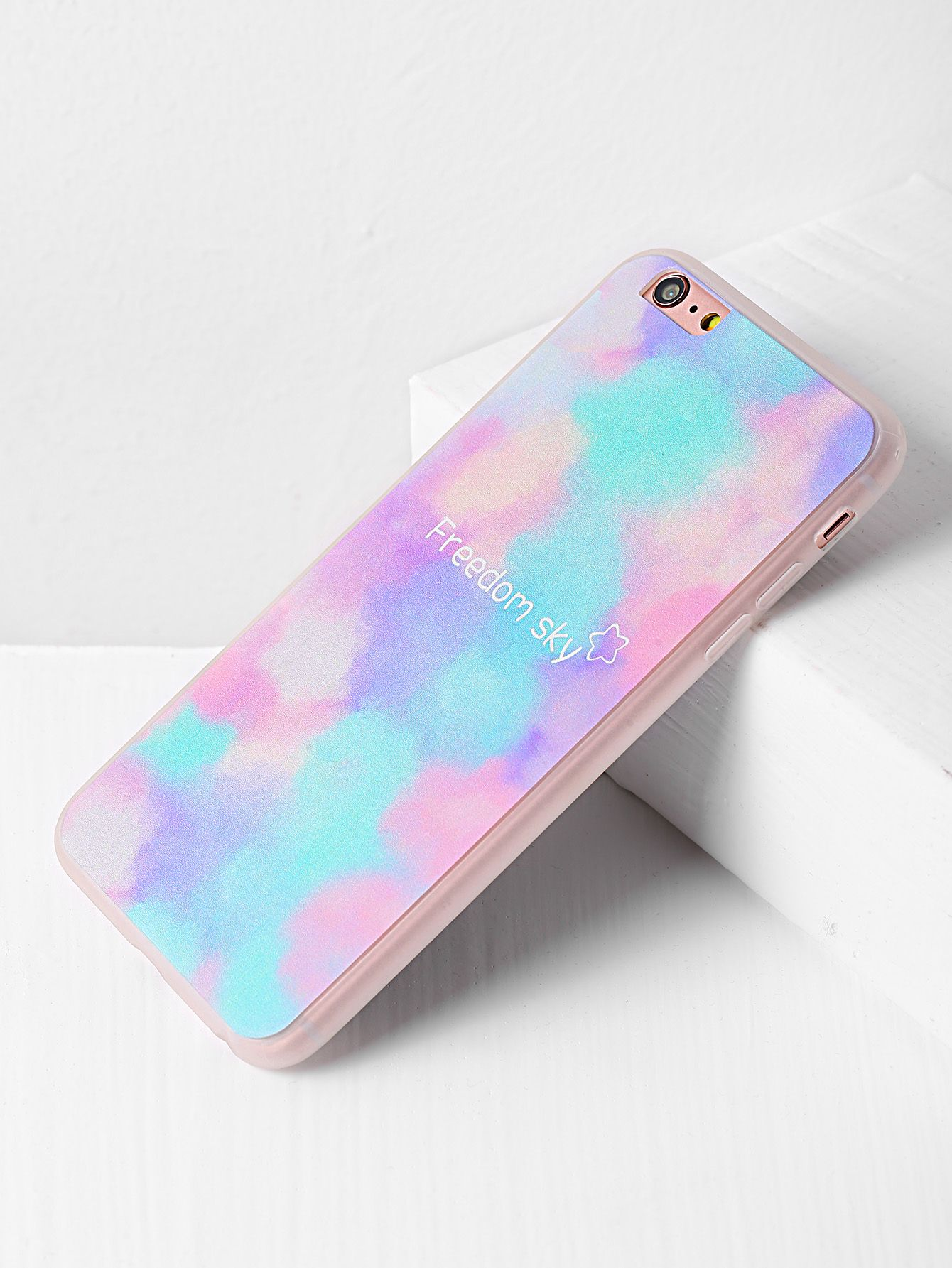 Watercolor And Letter Pattern Iphone 6 Plus 6s Case In 2018 Anti Crack Shock Softcase Ultrathin Clear Tpu Shop Online Shein Offers More To Fit