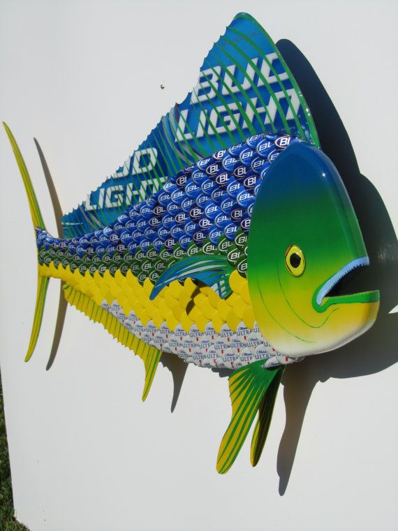I Will Make To Order You A Custom Mahi Mahi Dolphin With Your Choice Of Bottle Caps The Yellow Caps I Paint Be Metal Fish Wall Art Bottle Cap Bottle Cap