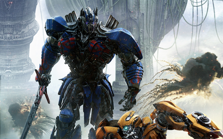 Download Wallpapers Transformers The Last Knight 2017 Optimus Prime Transformers 5 Bumblebee Besthqwallpapers Com Transformers Transformers 5 Optimus Prime