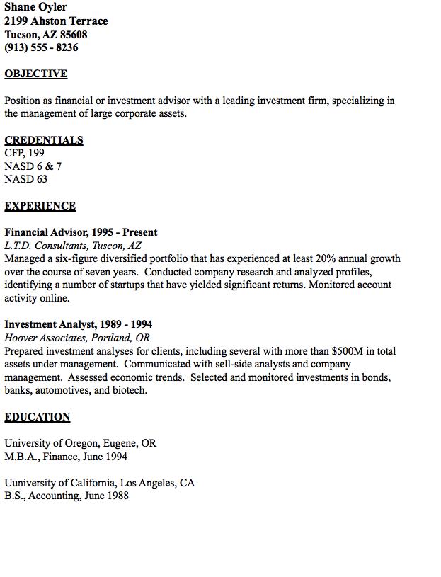 Example of Financial Advisor Resume - http://resumesdesign.com ...