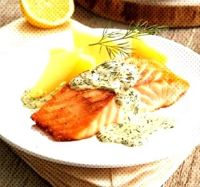 Salmon in lemon and dill sauce - Salmon fillet in a sauce with mustard, lemon and fresh dill -