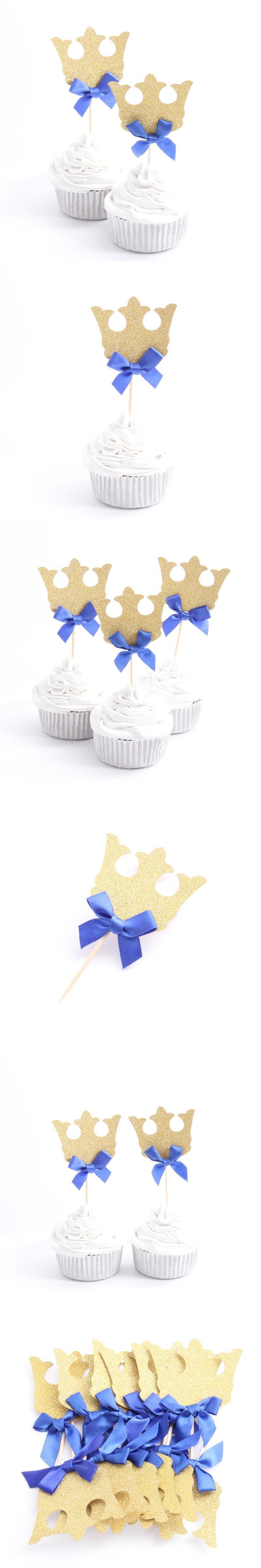 12pcs/lot Prince Crown Cupcake Topper Theme Cartoon Party Supplies ...