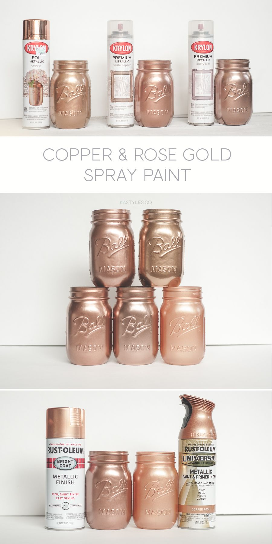 Krylon White Copper, Dusty Pink and Foil Metallic Copper. Rust-oleum ...